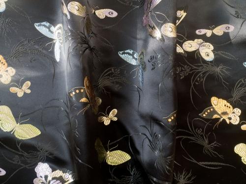 lfm Jaquardstoff Schmetterlinge schwarz bunt