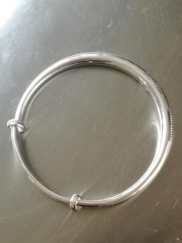Armreif mit Wellenmotiv verstellbar Feinsilber 999 Gewicht min 28 g Armband A03