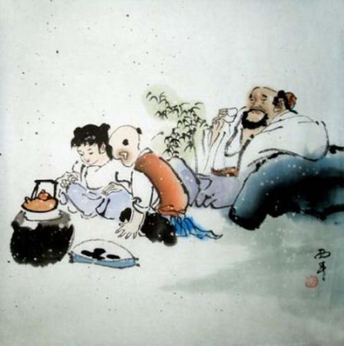 Die Familie Aquarell von Tang Xi Ping