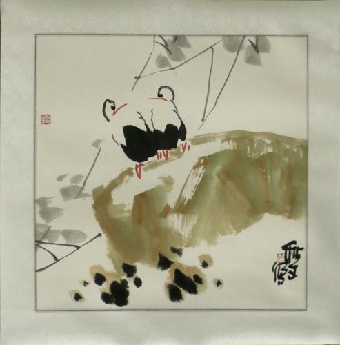 Storchenpaar - Aquarell von Huang Qiu Sheng