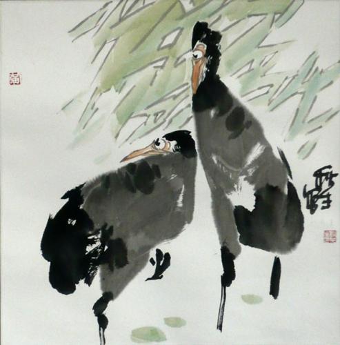 Vogelpaar - Aquarell von Huang Qiu Sheng