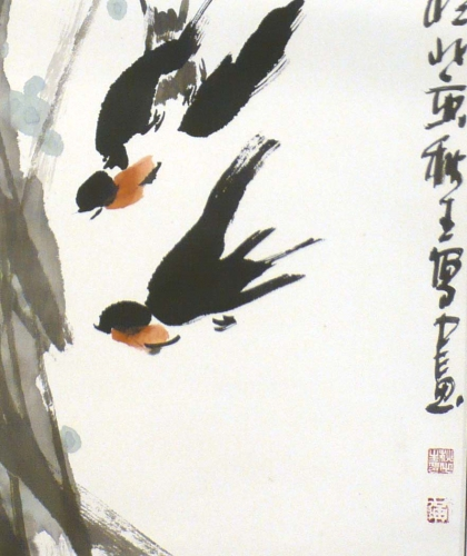 Ausflug Rollbild Aquarell von Huang Qiu Sheng