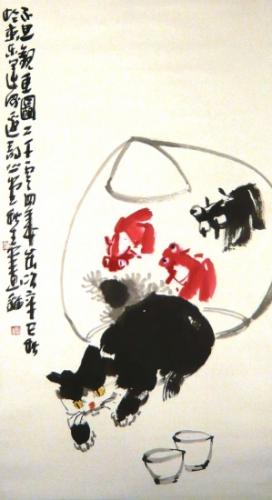 Katze und Goldfisch Rollbild Aquarell von Huang Qiu Sheng