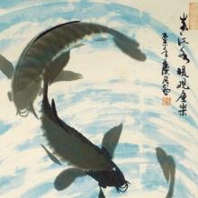 Im Fischteich III - Aquarell von Sun Qing Ming