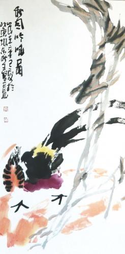 Truthahn II Rollbild Aquarell von Huang Qiu Sheng