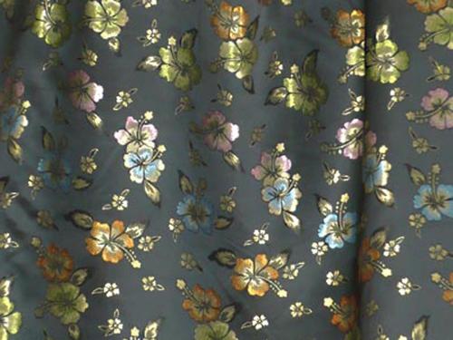 Jaquardstoff Blumen farbig - Meterware