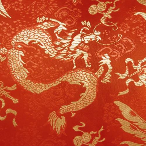 China Brokat Drachen rot - Meterware