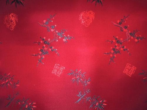 lfm Jaquardstoff Bambus und Winterkirsche rot