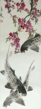 Winterkirsche und Fische Rollbild Aquarell von Chen Yeu Xin