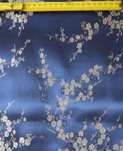 Jaquardstoff Kirschblüte blau - Meterware