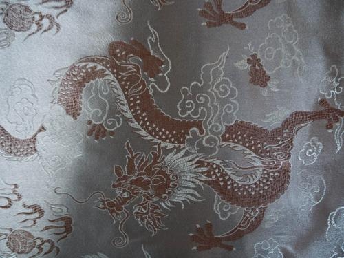 China Brokat Drachen silber / braun - Meterware