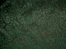 Handgefärbte Bio-Seide aus Kanton florales Ornament grün - Meterware