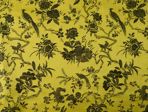 China Brokat Blumen und Vögel gelb - Meterware
