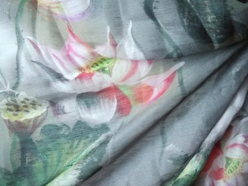 Seide / Leinen große Blüten - Meterware