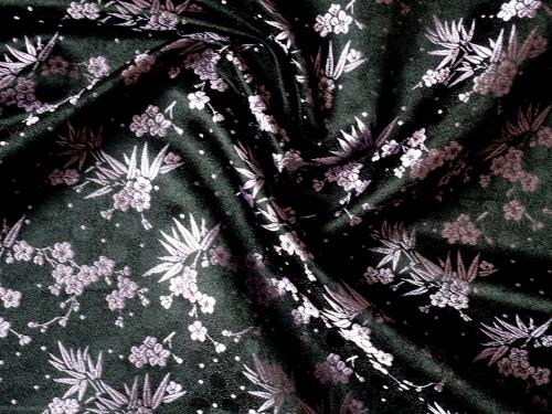 lfm China Dekostoff Bambus und Kirschblüte schwarz