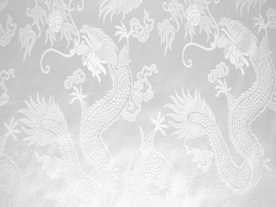chinesischer stoff drache wei meterware ebay. Black Bedroom Furniture Sets. Home Design Ideas