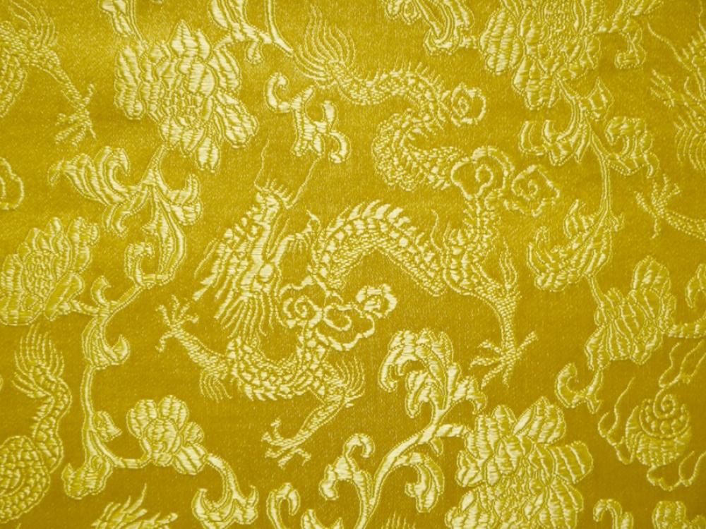 stoff china drachen klein gelb mischgewebe meterware ebay. Black Bedroom Furniture Sets. Home Design Ideas