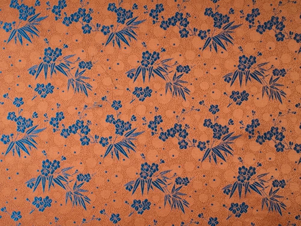Stoff aus China Dekostoff Bambus und Kirschblüte orange  Meterware