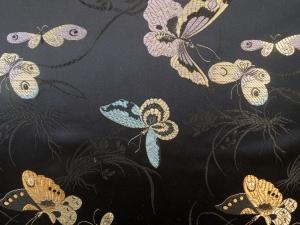 Jaquardstoff Schmetterlinge schwarz bunt - Meterware