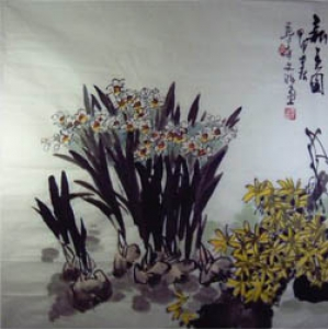 Frühlingsblumen Aquarell von Zhang Wen