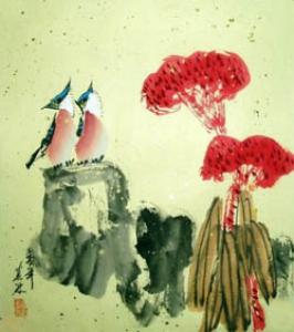 Das Vogelpaar Aquarell von Mo Ling China