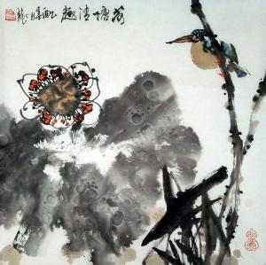Vogel im Herbst Aquarell von Wang Xiao Long