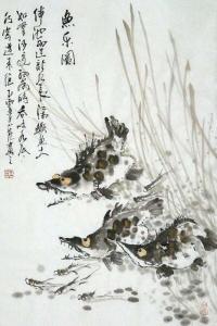 Drei glückliche Fische / Aquarell von Wang Xiao Long