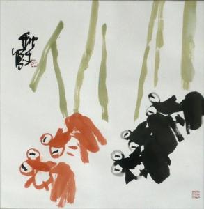 Goldfische - Aquarell von Huang Qiu Sheng