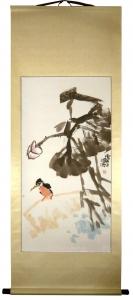 Eisvogel Rollbild Aquarell von Huang Qiu Sheng