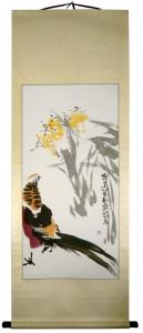 Truthahn Rollbild Aquarell von Huang Qiu Sheng