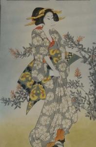 Japanerin im Kimono - Gemälde aus chinesischem Privatbesitz