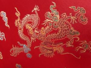 lfm Jaquardstoff Drache und Phoenix rot