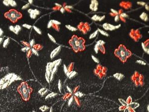 Dekostoff Blüten schwarz - Meterware
