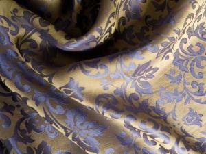 Seide Blütenornament gold/blaugrau - Meterware