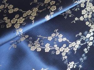 lfm Jaquardstoff Kirschblüte blau