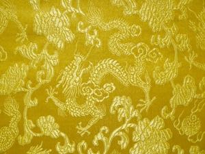 China Brokat Drachen klein gelb - Meterware