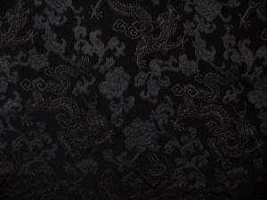 Seidenstoff Drachen schwarz - Meterware