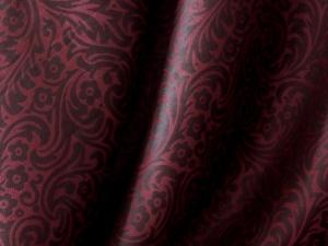 Seide Blütenornament rot/schwarz - Meterware