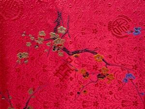 Jaquardstoff Kirschblüte rot / bunt - Meterware