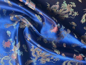 lfm Jaquardstoff Drache und Phoenix blau