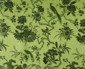 lfm China Brokat Blumen und Vögel grün
