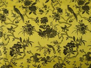 lfm China Brokat Blumen und Vögel gelb