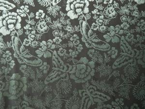 lfm Seidenstoff Blumen und Schmetterlinge türkis / grau