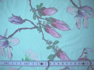 Chiffonseide türkis transparent Blüten - Meterware