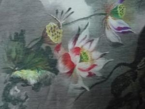lfm Seide / Leinen große Blüten