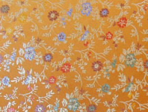 Jaquardstoff Blumen orange - Meterware