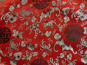 China Brokat Glücklich rot - Meterware
